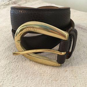 Ellen Tracy Thick Brown Leather Belt Brass Buckle